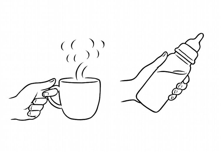 熱いお茶やミルク